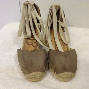 SAM EDELMAN BROWN SUEDE ESPADRILLE WEDGE 8M